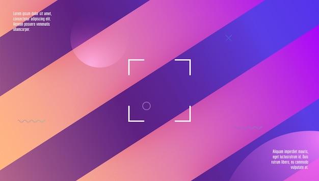 Minimaler hintergrund. bunte einladung. wellenförmige regenbogenform. memphis-rahmen. lila grafik-cover. futuristische textur. farbverlauf-poster. kunst-landingpage. lila minimaler hintergrund