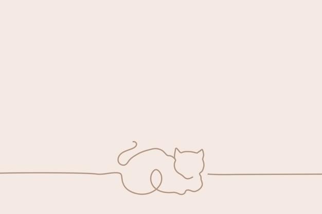 Minimaler katzenhintergrund, linie kunstillustrationsvektor