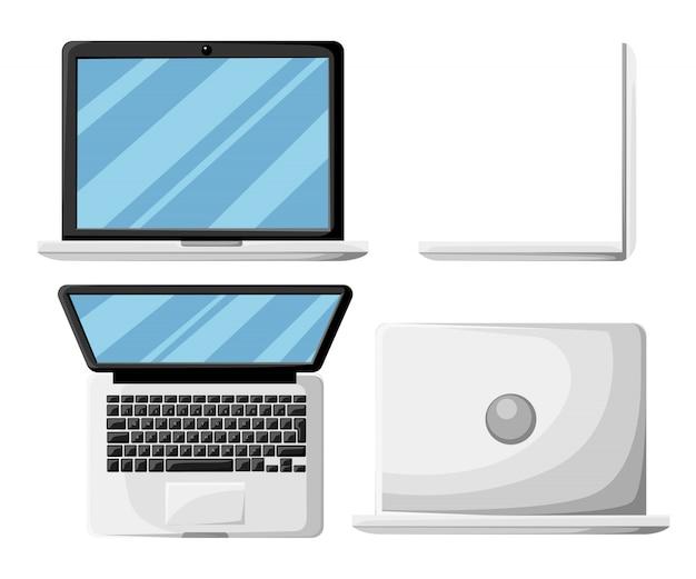 Minimaler laptop lokalisiert auf weißem hintergrund flaches design für geschäftsfinanzmarketing-bankwerbung kommerzielles ereignis in minimaler konzeptkarikaturillustrationswebsite-seite und in der mobilen app
