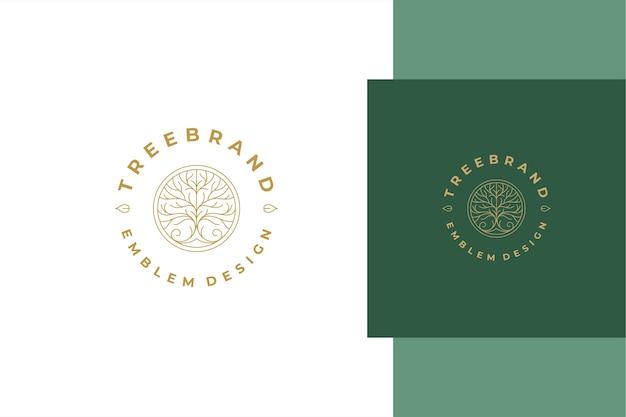 Minimaler linearer stil emblem-schablonendesign mit elegantem zierbaum im kreis, der für naturproduktverpackungslinienstil erstellt wird