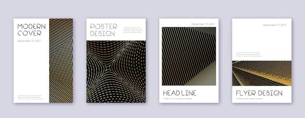 Minimaler prospektvorlagensatz für broschüren. abstrakte goldlinien auf schwarzem hintergrund. ansprechendes broschürendesign. fantastischer katalog, poster, buchvorlage usw.