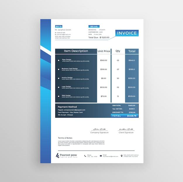 Minimaler rechnungsvorschlag für blauen farbverlauf
