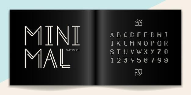 Minimaler satz für schrift und alphabet. typografie-schriftarten in großbuchstaben und nummer.