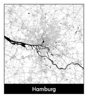 Minimaler stadtplan von hamburg (deutschland, europa)