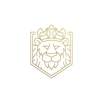 Minimaler umriss emblem des löwen in der krone als könig der tiere