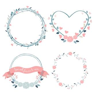 Minimaler valentinsgrußkranz in pastellfarbe