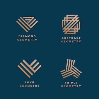 Minimaler vorzeichensatz der abstrakten geometrie. golden line-verlaufssymbole oder logo-vorlagen.