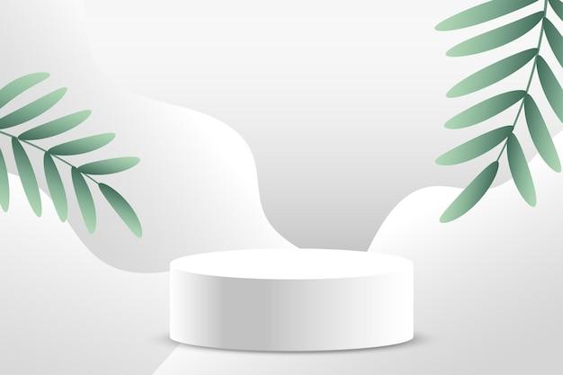 Minimaler weißer hintergrund für die produktpräsentation auf dem podium