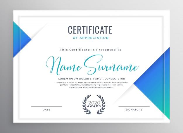 Minimales blaues dreieck zertifikat template design