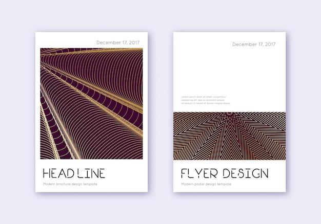 Minimales cover-design-vorlagenset. gold abstrakte linien auf kastanienbraunem hintergrund. zartes cover-design. lebhafter katalog, poster, buchvorlage etc.