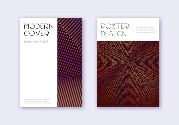 Minimales cover-design-vorlagenset. orange abstrakte linien auf weinrotem hintergrund. schillerndes cover-design. katalog, poster, buchvorlage etc. abrufen