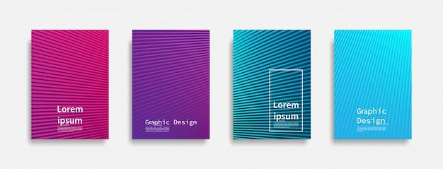 Minimales design der abdeckungen. buntes liniendesign. zukünftige geometrische muster.