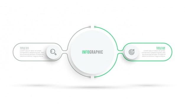 Minimales design der dünnen infografik mit kreis und symbolen. konzept zur visualisierung von geschäftsdaten mit 2 optionen oder schritten.