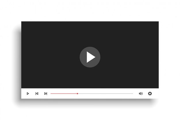 Minimales design der videoplayer-vorlage im weißen stil