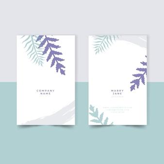 Minimales design für firmenvisitenkarte mit blättern