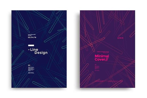 Minimales dynamisches cover-design mit farbiger einfacher linie geometrischer hintergrund mit abgerundeten formen für poster