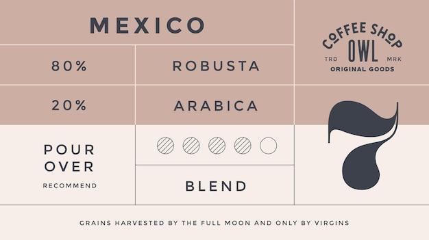 Minimales etikett. typografisches modernes vintage-label, tag, aufkleber für kaffeemarke, kaffeeverpackung. retro-design minimales etikett, tag kaffee, klassischer old-school-stil, typografie. vektorillustration