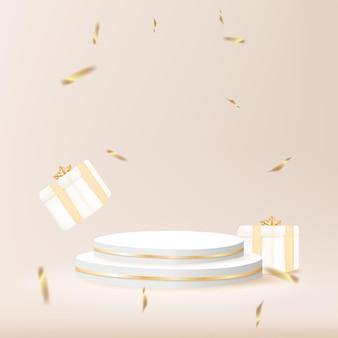 Minimales geometrisches podium mit geschenkbox und konfetti-3d-vektorillustration