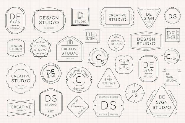 Minimales logo-abzeichen-design-set
