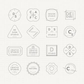 Minimales logo-abzeichen-set