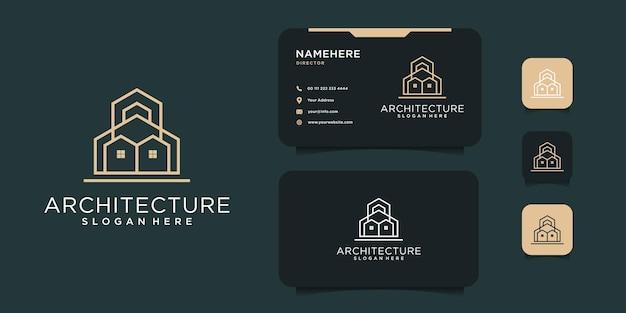 Minimales logo-design des immobiliengebäudes mit visitenkartenschablone. das logo kann für symbole, marken, inspirationen und unternehmenszwecke verwendet werden