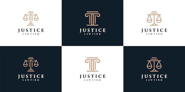 Minimales monogramm gerechtigkeit anwaltskanzlei logo elemente rechtssymbol