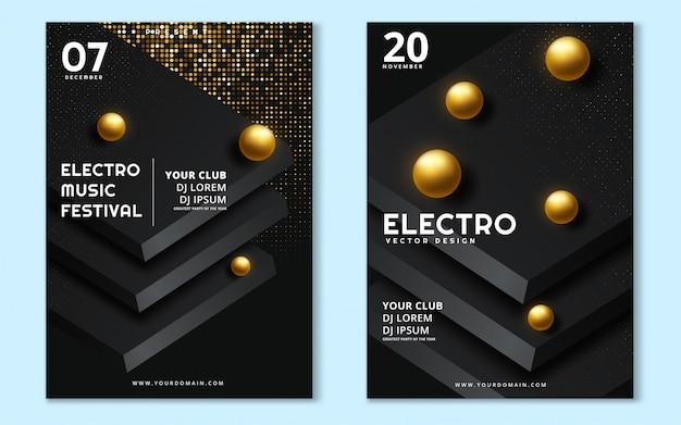 Minimales plakat des festivals der elektronischen musik