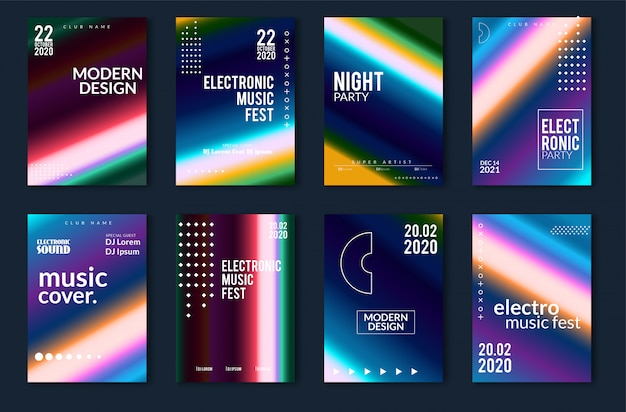 Minimales plakatdesign des festivals der elektronischen musik. moderner bunter hintergrund der punktierten linien für flieger, abdeckung. vektor-illustration