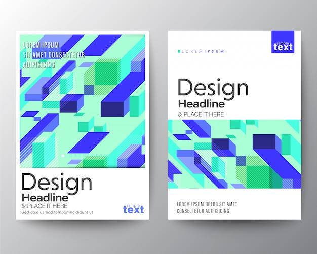 Minimales plakatdesign mit abstraktem lila blauem block auf minzneonhintergrund.