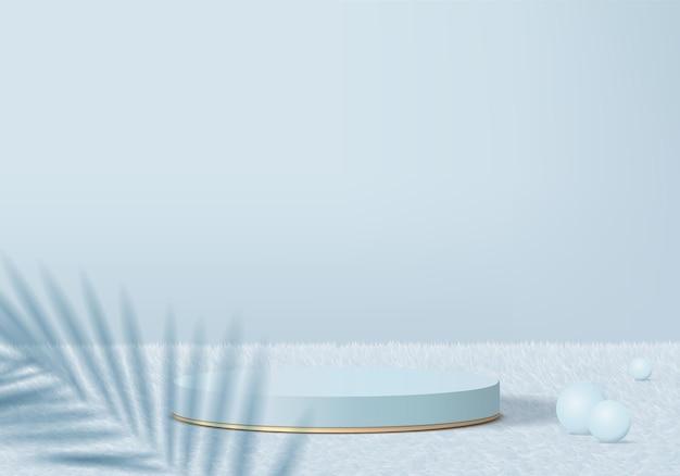 Minimales podium für 3d-produkte auf wollteppich mit geometrischer blattplattform.