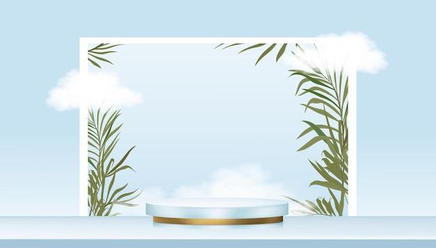 Minimales podium-vitrinendisplay mit zylinderständer auf blauem himmel, wolken und palmblättern an der wand, vektorrealistische 3d-bühnenpodestplattform für produktpräsentation, kosmetik- oder spa-produkte im sommer