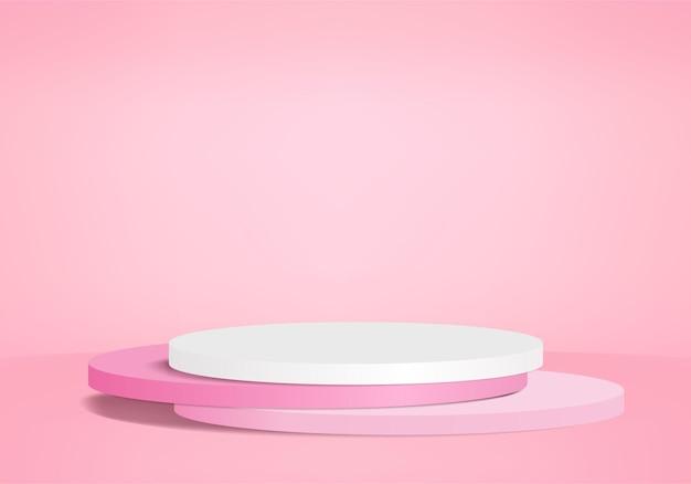 Minimales rosa podium und szene mit 3d-rendervektor in abstrakter abackground-komposition
