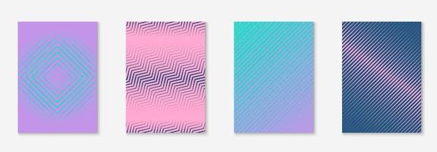 Minimales trendiges cover-vorlagenset. futuristisches layout mit halbtönen. geometrische minimale cover-vorlage für buch, katalog und jahrbuch. minimalistische bunte farbverläufe. abstrakte geschäftsillustration.