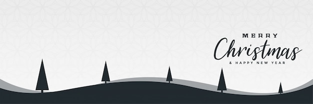 Minimales weihnachtswinterlandschaftsszenen-fahnendesign