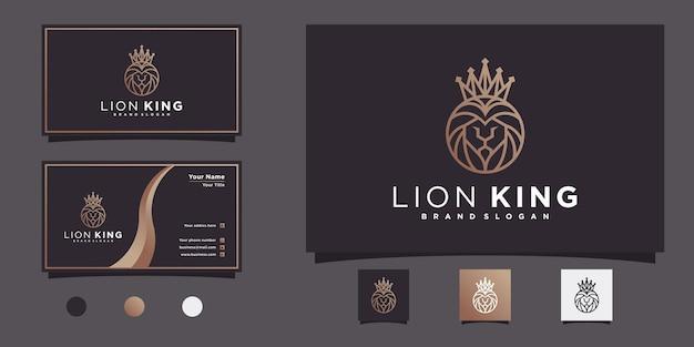 Minimalis of lion king logo-designkollektion mit einzigartiger kopf- und kronenlinien-kunstform premium vekto