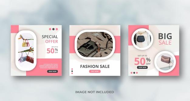 Minimalis rosa instagram social media feed post feminines banner