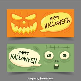 Minimalist halloween-fahnen