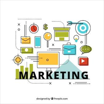 Minimalist hintergrund mit marketing-strategie