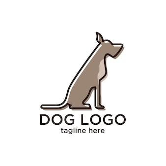 Minimalist hund logo design-vorlage