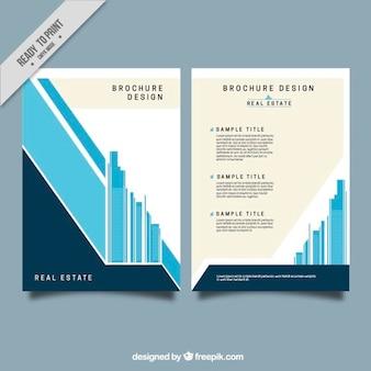 Minimalist immobilien broschüre in flaches design