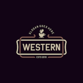 Minimalist western cafe vintage vector