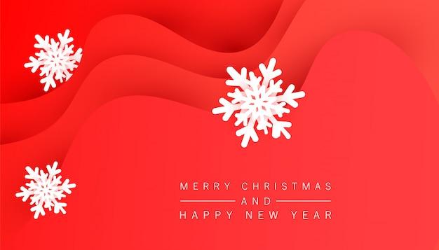 Minimalistic festlicher roter hintergrund des winters mit flüssigen wellenformen und volumetrischen schneeflocken für plakat, fahnen, flieger, karte.