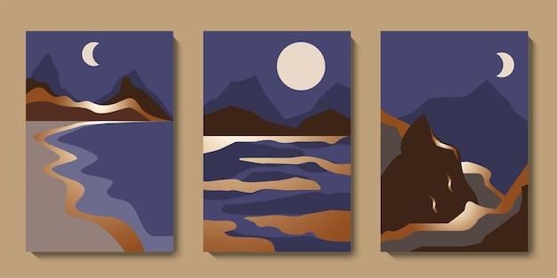 Minimalistische abstrakte goldene landschaftswandkunst-set mitte des jahrhunderts berge luxus-hintergrundkollektion