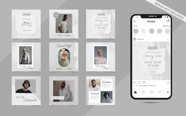 Minimalistische abstrakte nahtlose sammlung von social-media-instagram und facebbok-post-banner für modeverkaufsvorlage