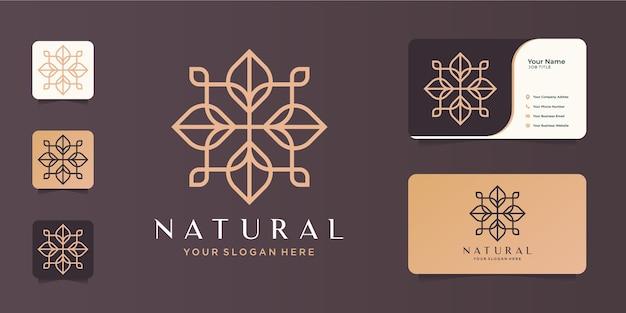 Minimalistische abstrakte naturlinie kunst schönheit, mode, rose, kosmetik und visitenkarte