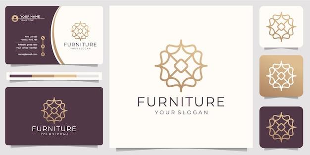 Minimalistische abstrakte strichzeichnungen möbel. logo-design und visitenkarte.