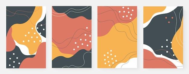 Minimalistische abstrakte wandkunst formt linien und punkte, die einfachen fließenden wellenhintergrund setzen