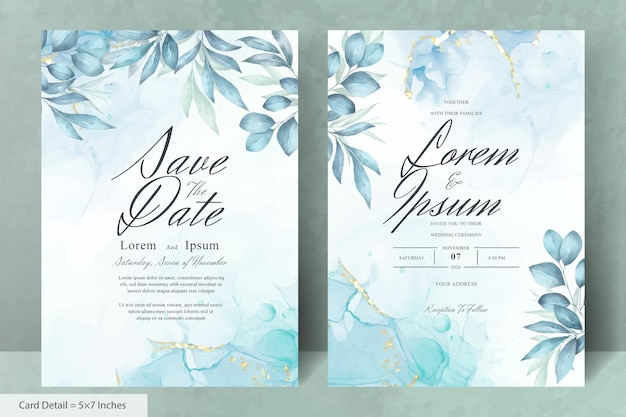 Minimalistische aquarell blumenhochzeitseinladungskarten vorlage