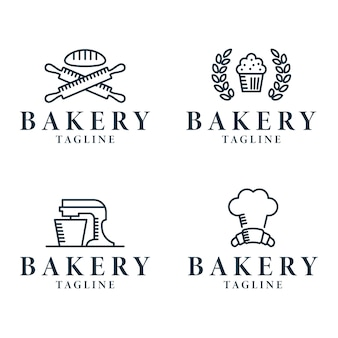 Minimalistische bäckerei logo line collection
