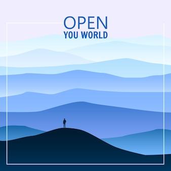Minimalistische berglandschaft, silhouetten, öffnen sie ihre welt, einsamer entdecker, horizont, perspektive